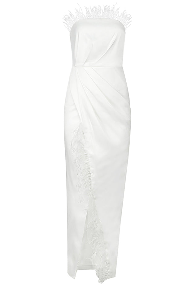 Lisa Feather Split Dress-White