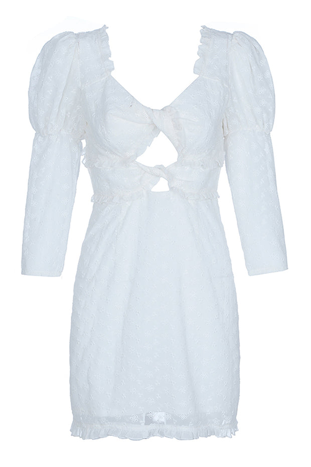 Sexy Puff Sleeve Hollow Out Dress - White