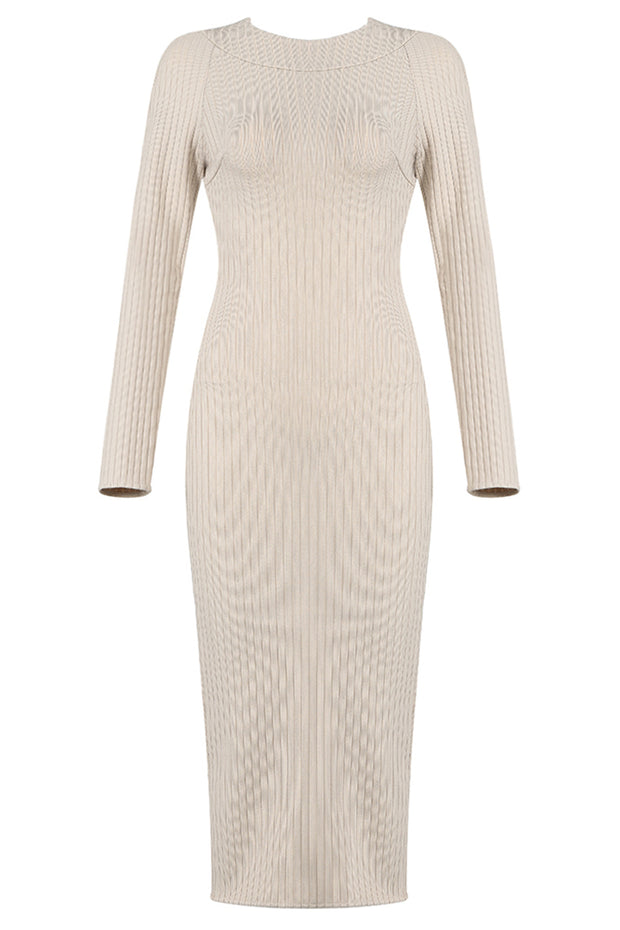 Ella Hollow Out Bandage Dress-Apricot