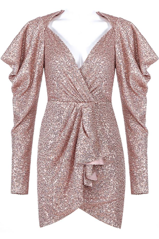 Emely Sequined Wrap Dress