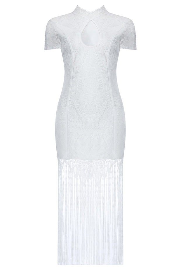 Brenda Hollow Out Fringe Dress-White