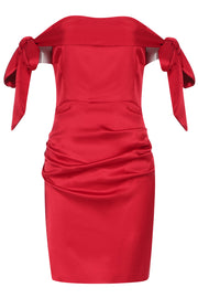 Taylor Bow Off Shoulder Dress-Claret red