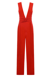 Charlene Plunge Jumpsuit-Red