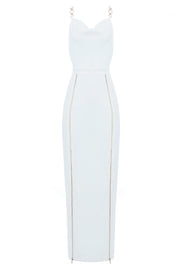 Buena Zipper Split Dress-White
