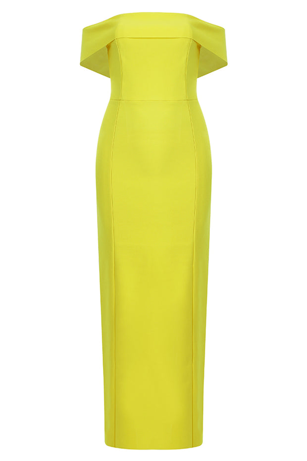 Brenda Off Shoulder Maxi Dress-Yellow