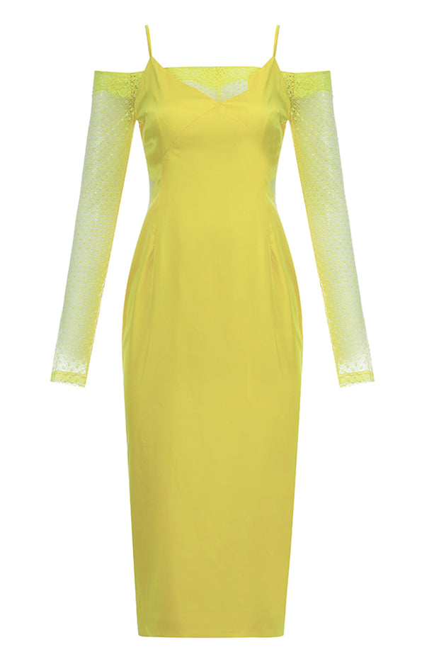 Charlene Cold Shoulder Lace Dress-Yellow