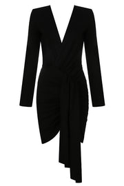 Lisa V Neck Wrap Dress-Black