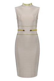 Sleeveless Bandage Slim Dress-Apricot