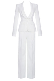 Dulcie Lace 2-Piece Set Pantsuits-White