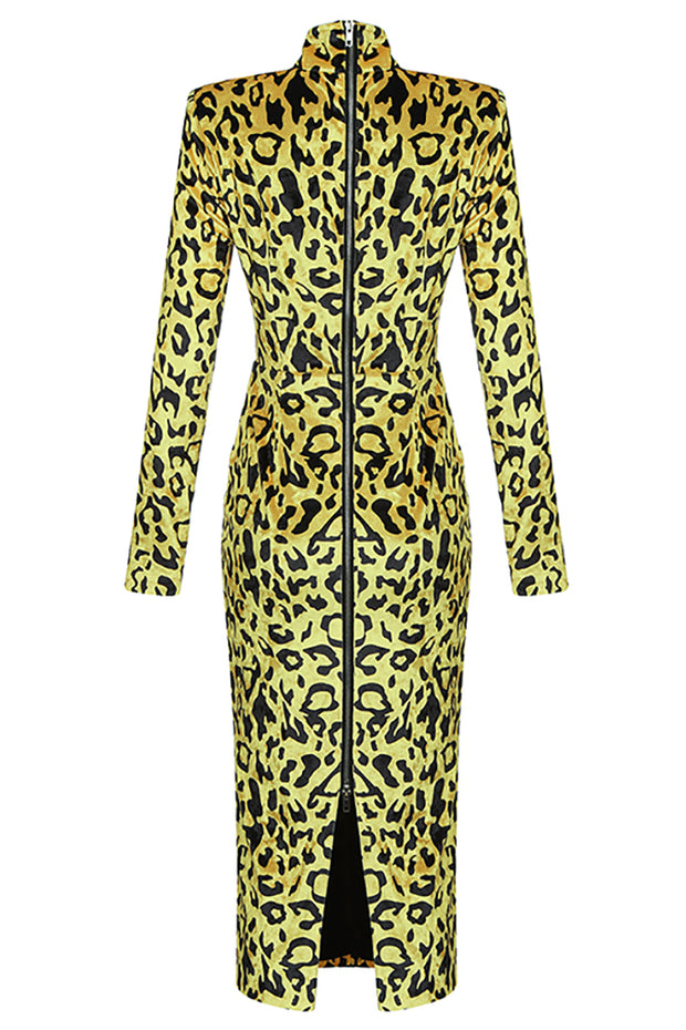 Paulina Leopard Midi Dress