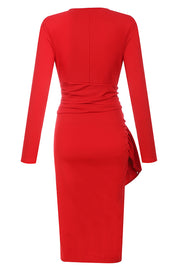 Alberta Plunging Long Sleeve Dress-Red
