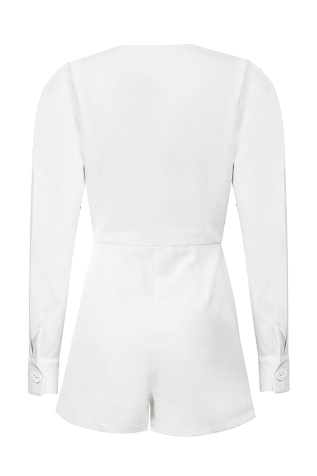 Charlene Deep V Playsuit-White