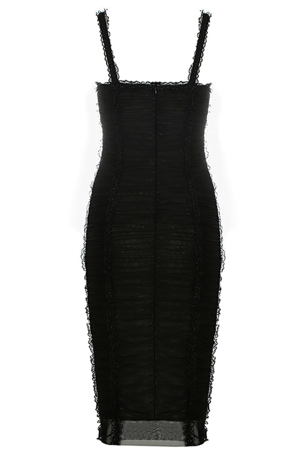 Dorsey Lace Ruched Dress-Black