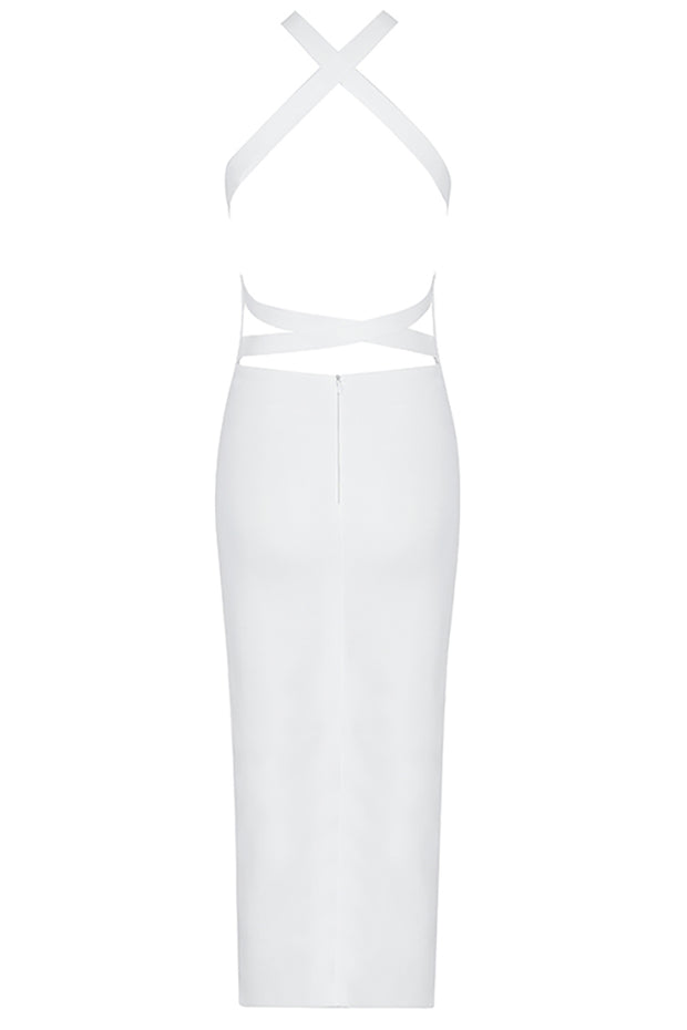 Betsey Strapless Lace Up Dress-White