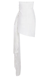 Doris Strapless Fringe Wrap Dress-White