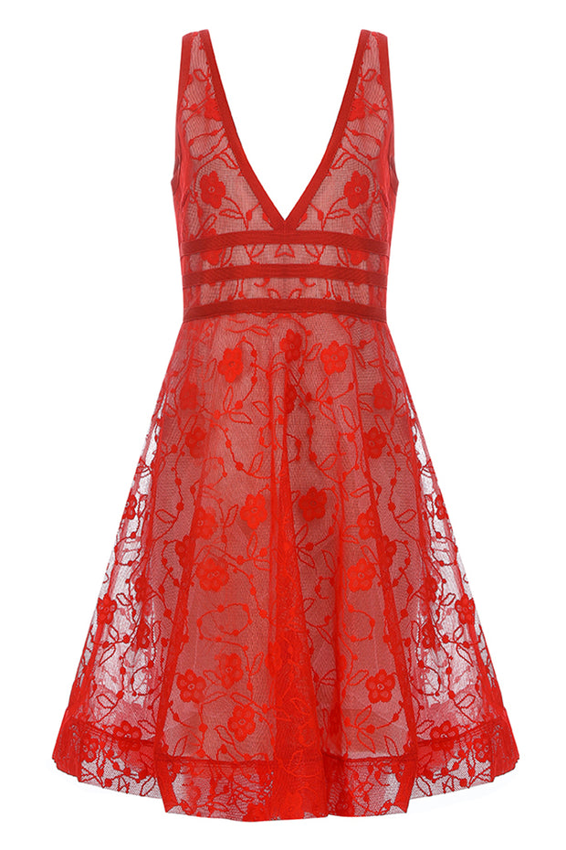 Brenda Lace Sun Dress-Red