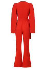 Charlene Boot Cut Jumpsuit-Red