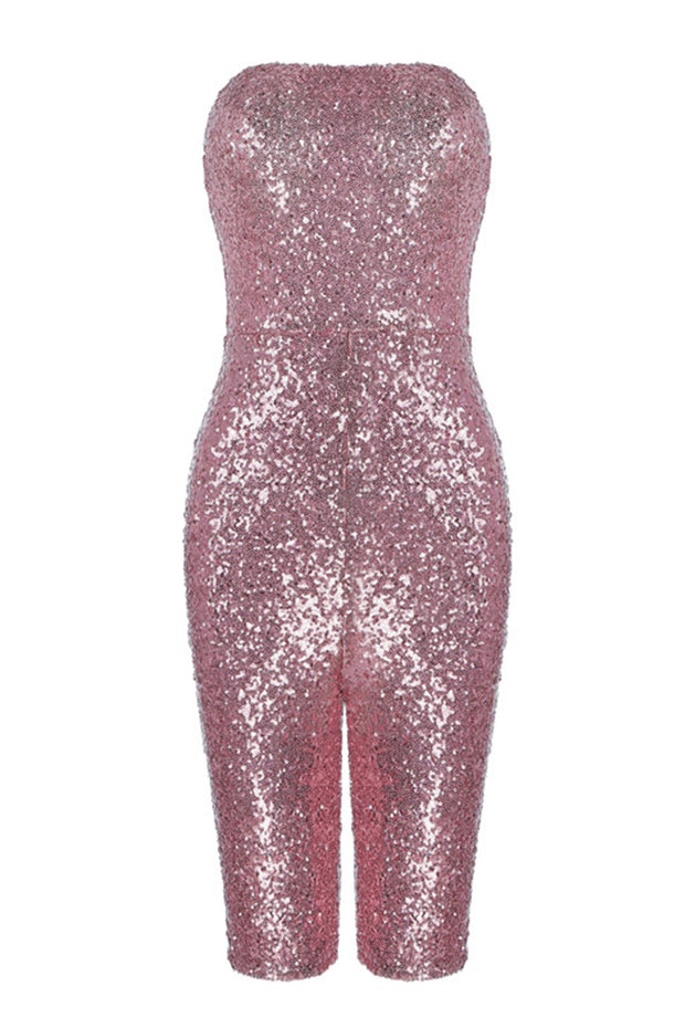 Strapless Sequined Bodycon Playsuit