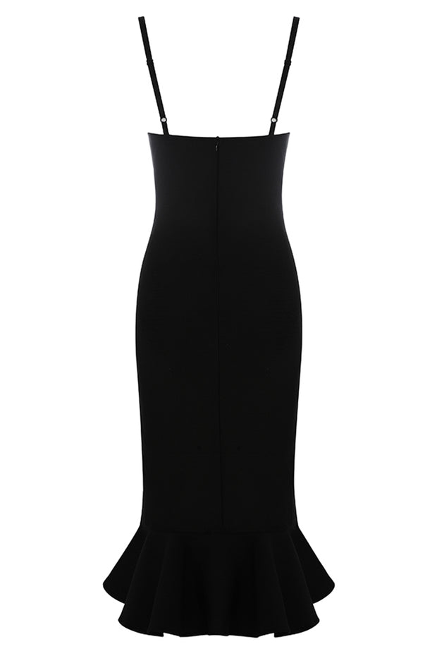 Brenda Split Ruffles Dress-Black