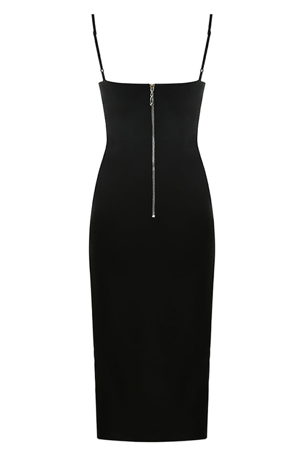 Dorsey Sling Split Midi Dress-Black