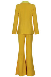 Dulcie Blazer Pantsuits Two Piece Set-Yellow