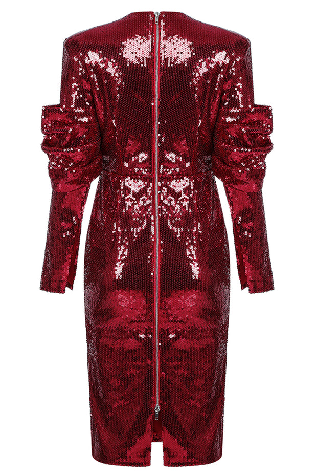 Kate Sequined Ruched Sleeve Dress-Red