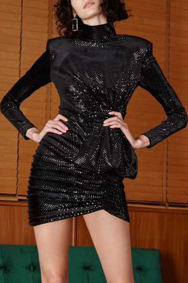 Mock Neck Long Sleeve Ruched Sequin Mini Dress