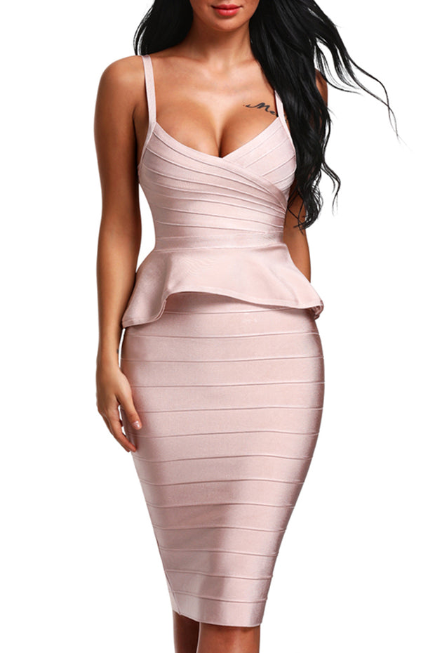 Peplum Two Piece Spaghetti straps Bandage Midi Dress