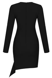Ainsl Plunging Long Sleeve Dress-Black