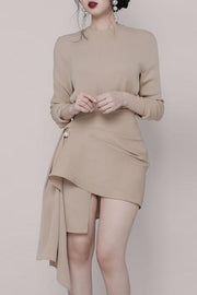 Round Neck Long Sleeve Ruched Wrapping Mini Dress