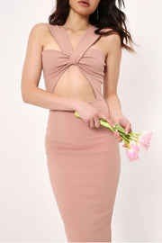 Sleeveless Apricot Midi Dresses
