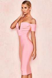 Pink Off Shoulder Plunge Bodycon Midi Dress