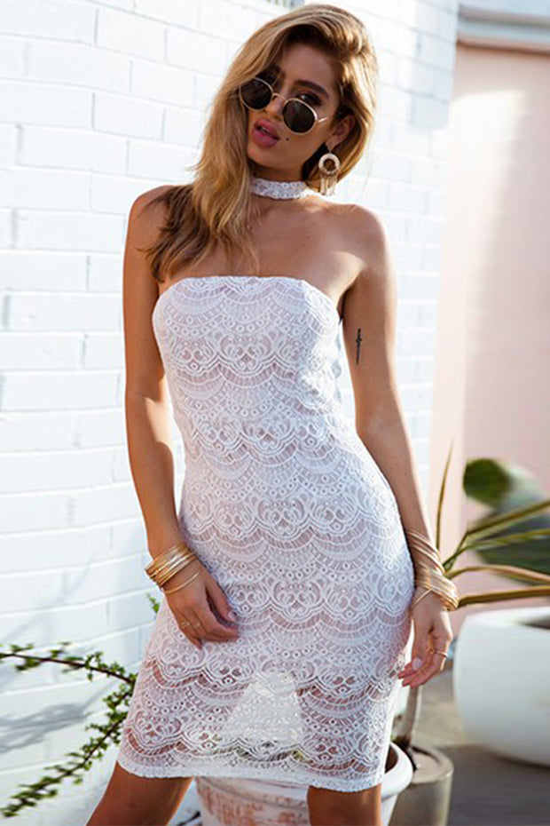 Halter Bandeau Lace Bandage Mini Dress