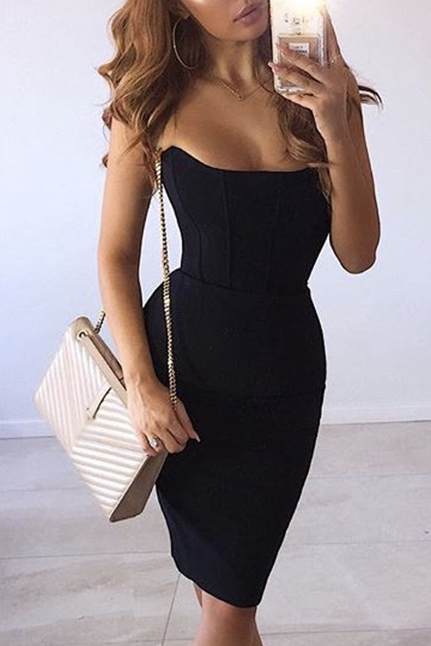 Strapless Sweetheart Neck Bandage Midi Dress