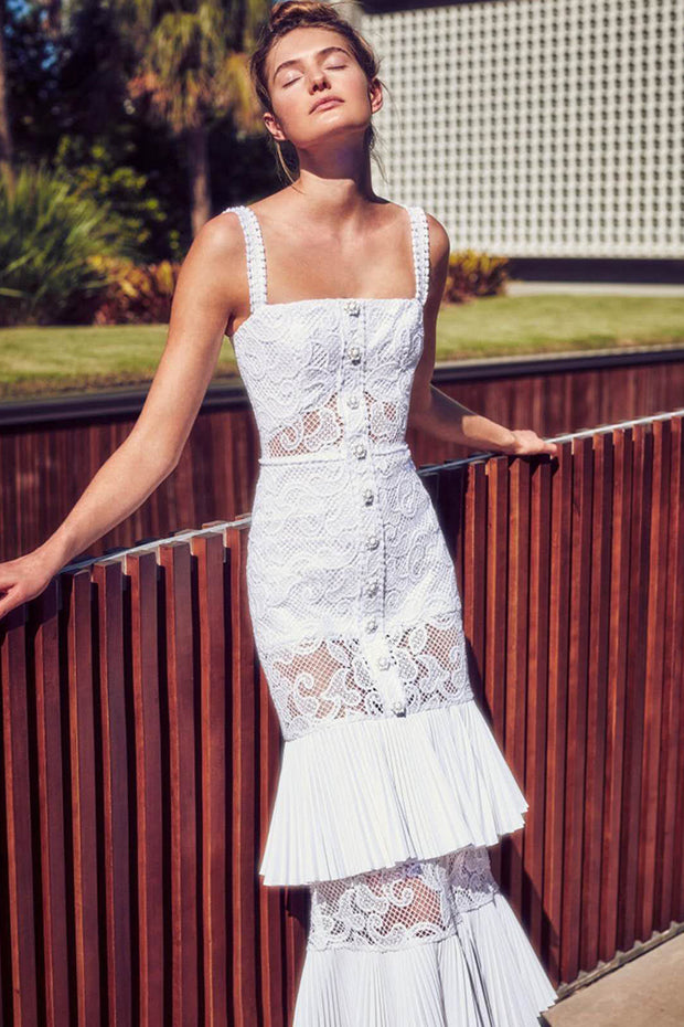 Spaghetti Straps Lace Tiered White Maxi Dress