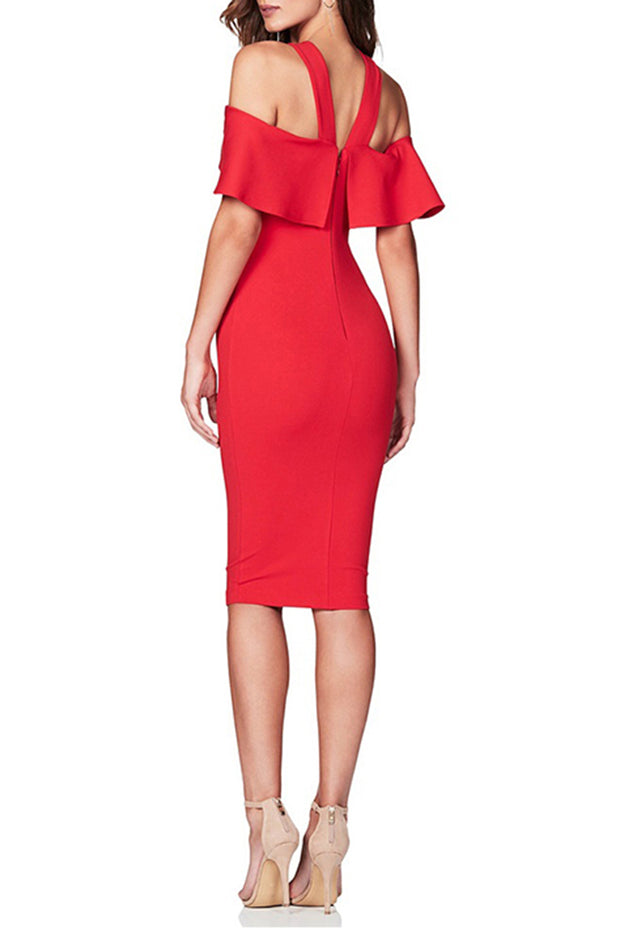 Red Halter Ruffle Bandage Midi Dress