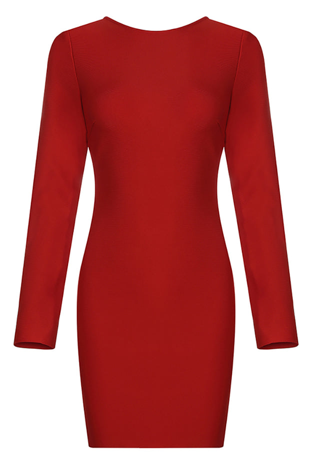 Bessie Backless Bandage Dress-Red