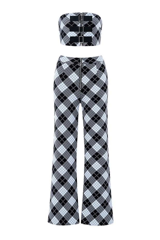Black and White Plaid Two-piece Jumpsuit