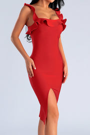 Ruffle Strap Red Bodycon Midi Dress