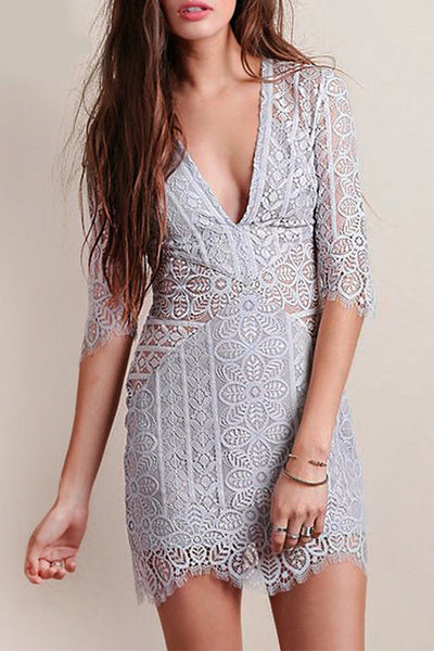 Grey Slim Lace Mini  Dress Sexy V Neck Half Sleeve Hollow Out Dress