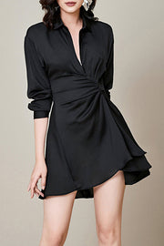 V Neck Ruched Shirt Mini Dress Fashion Black