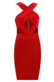 Anelica Cut Out Bandage Dress-Red