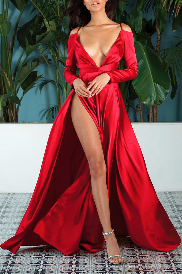 Deep V Long Sleeve Bow Tie Slit Sexy Maxi Dress