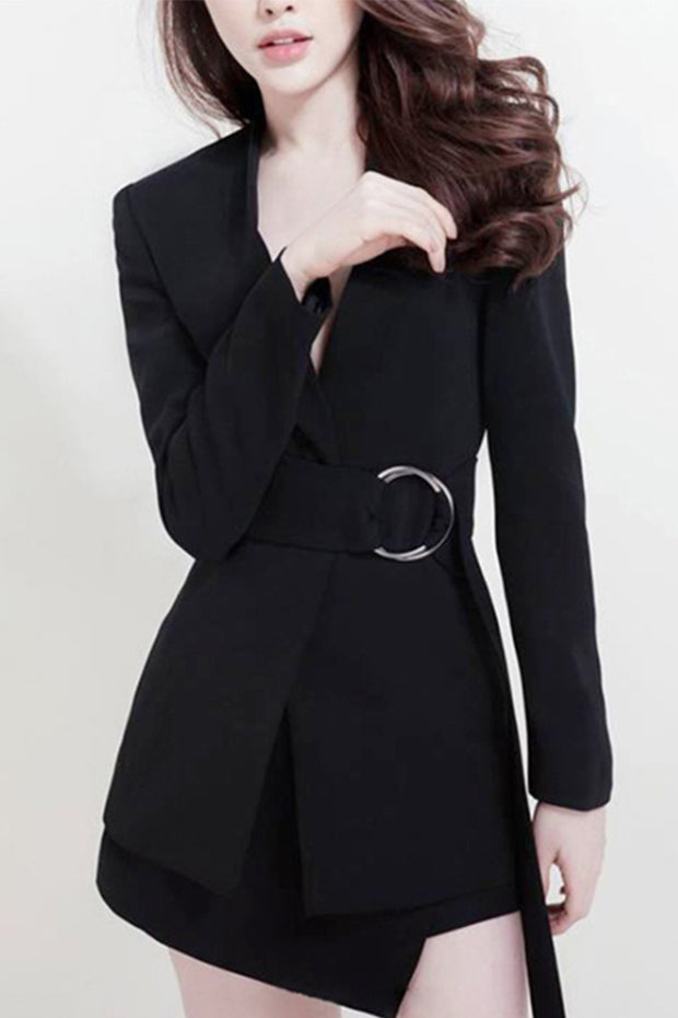 V Neck Long Sleeve Wrapped Front Sash Belt Blazer Mini Dress