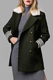 Lapel Long Sleeve Woolen Short Coat - Army Green