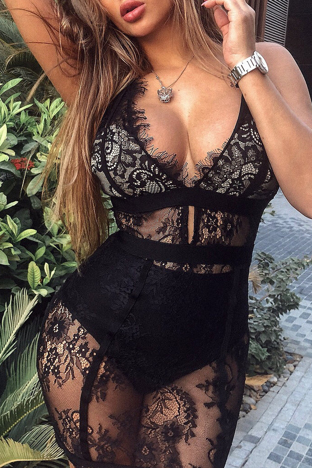 Lace Overlay Plunge Skinny Straps Mini Dress