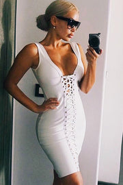 Lace Up Cut Out Bandage Mini Dress