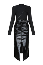 Black High Neck Zipper Long Sleeve Top and Belt Slit Skirt
