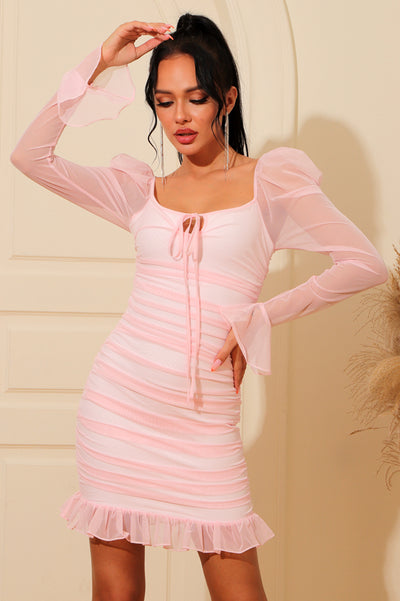 Long Sleeve Lace Bandage Mini Dress-Pink
