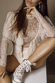Mesh Lace Ruffle O Neck Long Sleeve Bodysuit